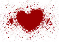 Heart splatter blood isolate Stock Photo