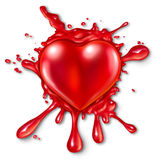 Heart Splatter. Concept with a red three dimensional love and romance icon splattered on a wall with red liquid exploding and spraying out as a metaphor for Royalty Free Stock Images