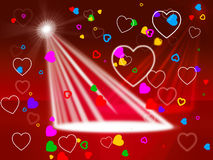 Heart Spotlight Shows Valentines Day And Affection Royalty Free Stock Images