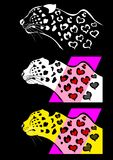 Heart spotted leopard set Royalty Free Stock Images