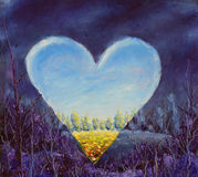 Heart, spring heart on canvas. Open heart. Knife art. Royalty Free Stock Image