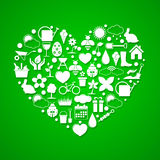 Heart with Spring icons Royalty Free Stock Images