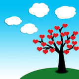 Heart spring on a tree. With clear blue sky background Royalty Free Stock Photos
