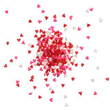 Heart sprinkles in red, pink and white on a pile Stock Photo
