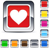 Heart square button. Heart glossy square web buttons stock illustration