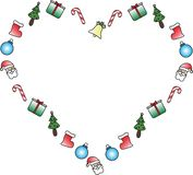 Heart icon with Christmas symbols. A heart sshape that contains Santa Claus and Christmas symbols royalty free illustration