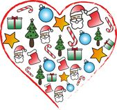 Heart icon with Christmas symbols. A heart sshape that contains Santa Claus and Christmas symbols vector illustration
