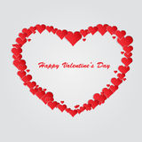 Heart by St. Valentine's Day. Heart is laid out from a large number of small red hearts. Vector illustration Vector Illustration