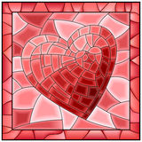 Heart Stained Glass Window With Frame. Royalty Free Stock Images