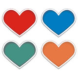 Heart-stamp. Orange, blue, red and green hearts vector illustration