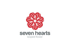Free Heart Star Flower Logo Design Vector Template. St. Valentine Day Of Love Party.Cardiology Medical Health Care Logotype Concept Royalty Free Stock Images - 83884239