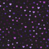 Heart and star pattern with spots. Seamless vector background. Amethyst, lavender, plum, purple, violet hearts, stars and spots on black backdrop Royalty Free Stock Photo