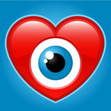 Heart with staring eye. Red heart with staring eye Royalty Free Stock Photography