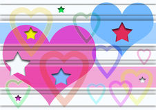 Heart and stars. Abstract creative symbolic image heart and stars Stock Photo