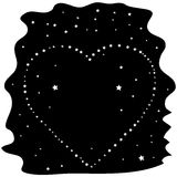 Heart of the stars on a black night sky. Vector Stock Images