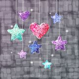 Heart, stars and bright background. Postcard or banner on the holiday. Illustration Stock Images