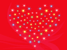 Heart with stars on red background. Heart with stars on bright red abstract background, hand drawing Valentine vector illustration Royalty Free Stock Photos