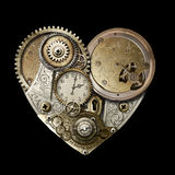Heart of Steampunk Isolated. Steampunk styled heart created with gears, cogs, watch & clock parts Royalty Free Stock Photos