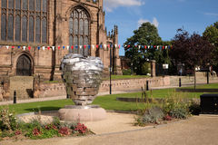 Heart of Steel sculpture, in front of Rotherham Minster Royalty Free Stock Images