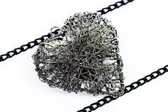 Heart of steel wire Royalty Free Stock Photos
