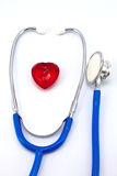 Heart and a stethoscope. On a white background. Concept for cardiology royalty free stock photo