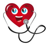 Heart with stethoscope Royalty Free Stock Photos