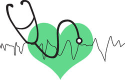 Heart with stethoscope Stock Photography