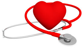 Heart & Stethoscope. High quality 3D render of a heart & stethoscope, isolated on white with no surrounding shadows Royalty Free Stock Photo