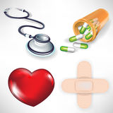 Heart, stethoscope, bottle, plaster Royalty Free Stock Images