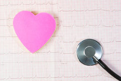 Heart and a stethoscope in cardiogram. Royalty Free Stock Photo