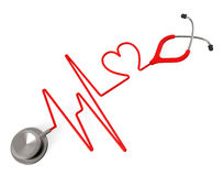 Heart Stethoscope Indicates Health Check And Affection Stock Photo