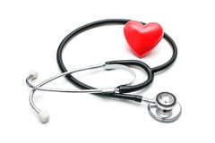 Heart with a stethoscope Stock Photo