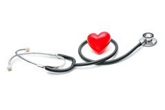 Heart with a stethoscope Stock Photography