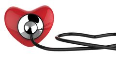 Heart and a stethoscope. Isolated in white background Royalty Free Stock Images