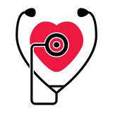 Heart and  stethoscope, vector  Royalty Free Stock Photos