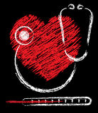 Heart, stethoscope and thermometer Stock Image