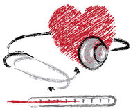 Heart, stethoscope and thermometer Stock Images
