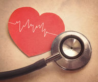 Heart and stethoscope. In vintage style Stock Photo