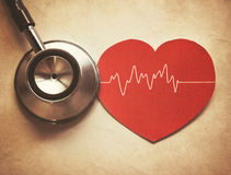 Heart and stethoscope. In vintage style Stock Photography