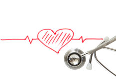 Heart and stethoscope on white Royalty Free Stock Photography
