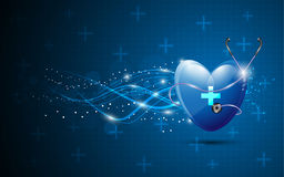 Heart and stethoscopes abstract healthcare background. EPS 10 Vector Royalty Free Stock Photos