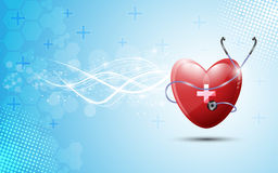 Heart and stethoscopes abstract healthcare on blue background Stock Image