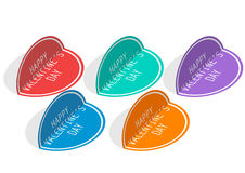 Heart sticker. Seemed as heart-shaped stickers with congratulation Stock Illustration