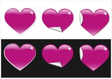 Heart stickers. Pink heart stickers for web Royalty Free Stock Photography