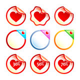 Heart stickers or labels. Set of glossy colorful stickers or labels with heart Stock Photo