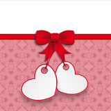 2 Heart Stickers Ornaments Red Ribbon Royalty Free Stock Photo