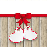 2 Heart Stickers Ornaments Red Ribbon Stock Photos