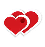Heart stickers push pinned vector. Vector illustration of two paper crafted red hearts pinned together with red push pin isolated on white Stock Photos