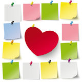 Heart Stickers Thumbtacks Royalty Free Stock Images