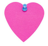Heart Sticky Label, with blue pin, isolated. On white background Stock Photo